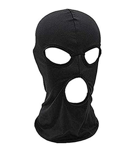 YIYI Bivakmuts hoed masker, dames en heren dunne Lycra drie-gaats volgelaatsmasker motorfiets fiets jacht riding cap ski (Zwart)
