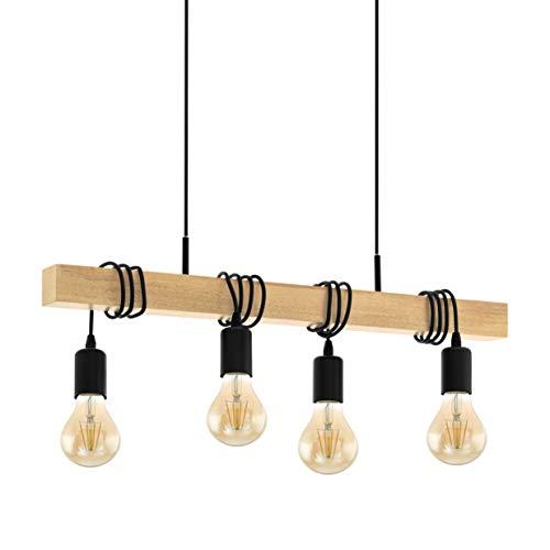 EGLO pendelarmatuur TOWNSHEND hout vintage, hanglamp eetkamer, pendellamp 4 lichtbronnen, rustieke retro lamp in industrieel design met E27 fitting, hanglamp zwart, bruin