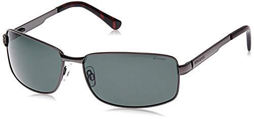 Polaroid - P4416 - zonnebril voor heren rechthoekig - metalen frame - gepolariseerd - inclusief beschermdoos, grijs (grijs),