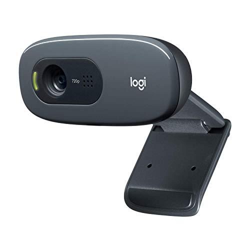 Logitech C270 HD Webcam, HD 720p/30fps, breedbeeld HD-video-oproep, HD lichtcorrectie, ruisonderdrukkende microfoon, voor Skype, FaceTime, Hangouts, WebEx, PC/Mac/Laptop/Macbook/Tablet - Grijs