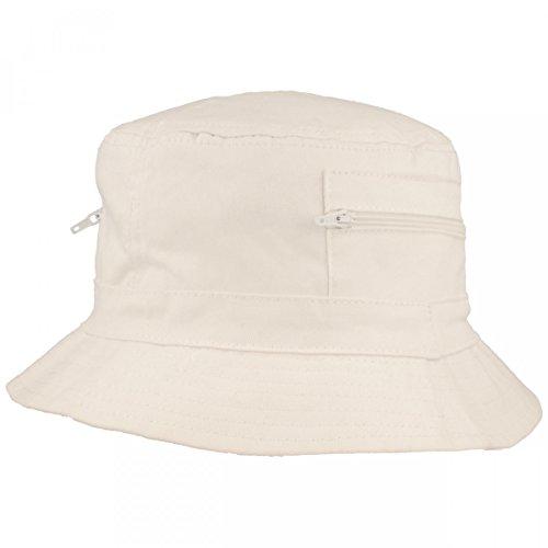 Brede vishoed | Bucket Hat | Zonnehoed – van 100% katoen – met 2 geïntegreerde zakken – wasbaar & opvouwbaar