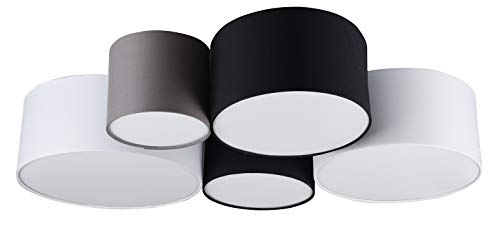 Trio Leuchten plafondlamp Hotel 693900517, stoffen kap in wit/zwart/grijs, excl. 1 x E27