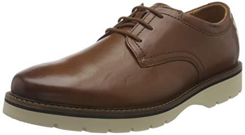 Clarks Bayhill Plain Oxford-schoenen voor heren, Tan Leather, 44 EU