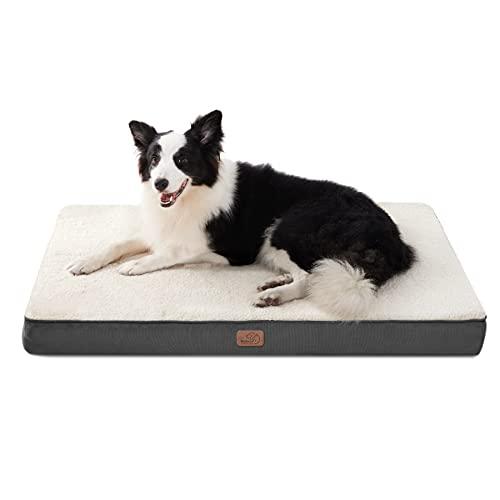 Bedsure Hondenkussen eivormig krat schuim hondenmatras voor middelgrote honden 90x70 cm