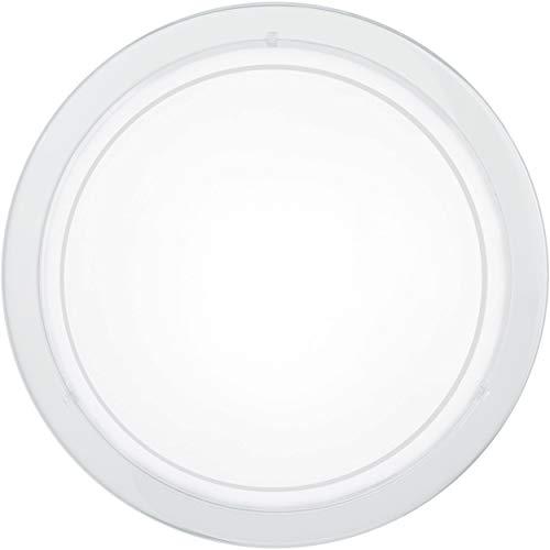 EGLO plafondlamp PLANET 1, 1 lichtbron wandlamp, stalen plafondlamp, kleur: wit, glas: wit gelakt, fitting: E27