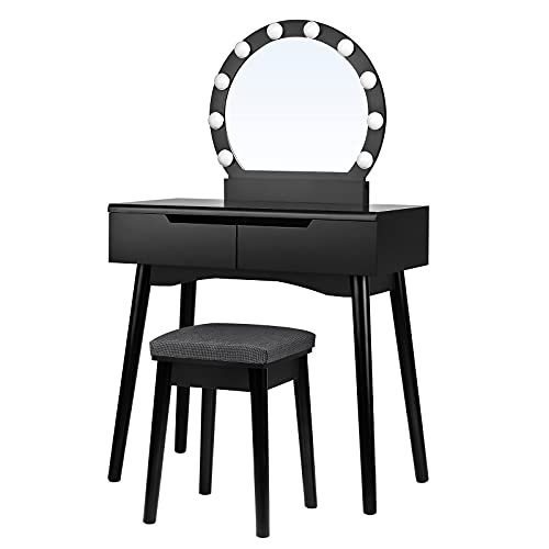 SONGMICS Make-uptafel met verlichting, kaptafel met spiegel en gloeilampen, make-uptafel, kapcommode, voor een perfecte make-up, gevoerde kruk, 2 grote laden, zwart RDT11BL