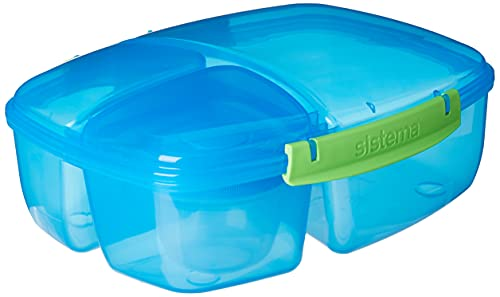 Sistema Lunch Triple Split Lunch Box met Yoghurt Pot -2 L, Blauw