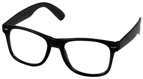 Oramics Hoornbril zonder stokken voor vrouwen en mannen, nerdbril retro bril (1 x zwarte nerd-bril)