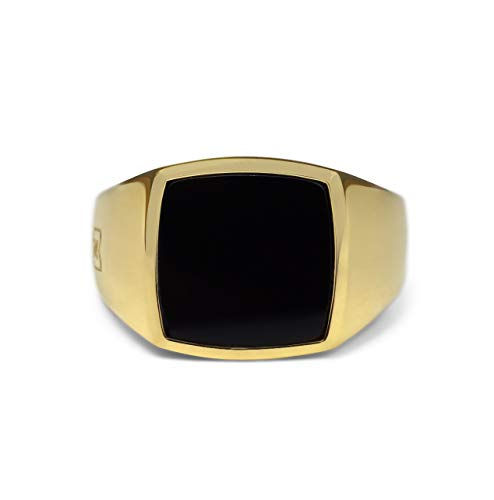 Sprezzi Fashion Square Gold Signet Ring Men's solid 925 sterling silver 18k gold-plated for engraving or onyx stone | minimalist ring jewellery for men made in Germany
