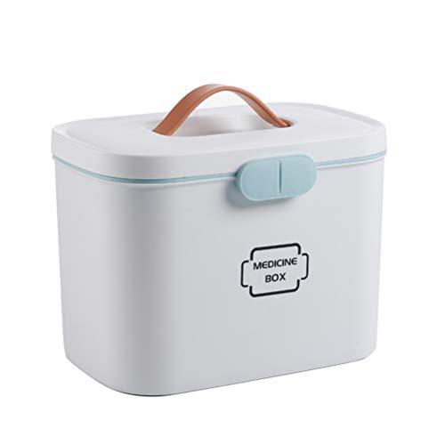 Ysoom Medicijndoos 27 x 18 x 17 cm plastic EHBO-box opbergdoos medicijndoos met handvat met uitneembaar opbergvak medicijndoos organizer (grijs)