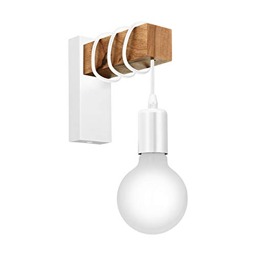 EGLO TOWNSHEND-wandlamp, 1 lichtbron vintage wandarmatuur in industrieel ontwerp, retro lamp van staal en hout, kleur: wit, bruin, fitting: E27