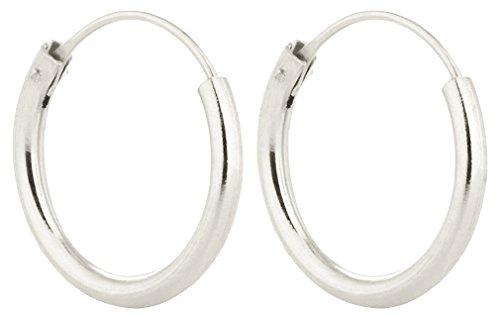 Zilveren Hoop oorbellen - Zilveren Oorbellen - Unisex - Heren hoepels buisvormige gauge 1.5mm - Sterling zilver - 16MM breed