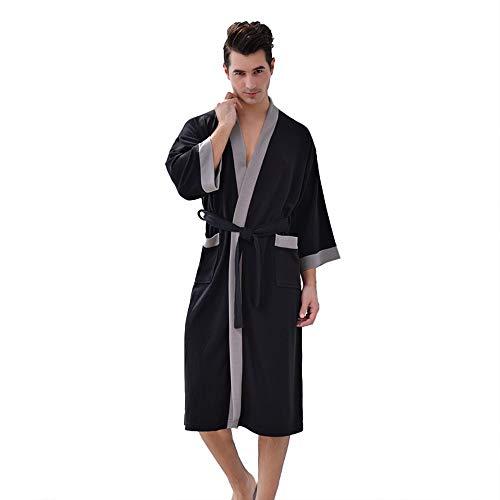 Badjas Robe Pyjama Kamerjas Heren Nachtkleding Voor Heren Met Zakken,Black,XL
