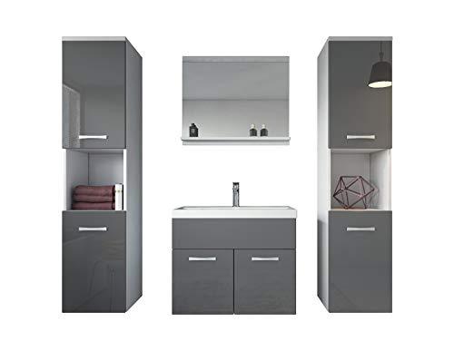 Badkamermeubelset Montreal xl 60 cm wastafel wit met hoogglans grijs - spiegel meubel badkamermeubel badkamerkast
