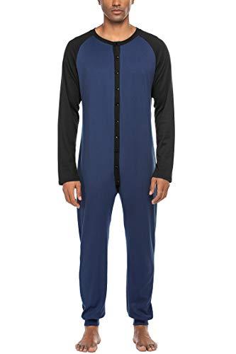 MAXMODA Thermo-ondergoed voor heren, jumpsuit, thermo-ondergoed, overall en katoenen rompers voor volwassenen, Navyblue-2, S