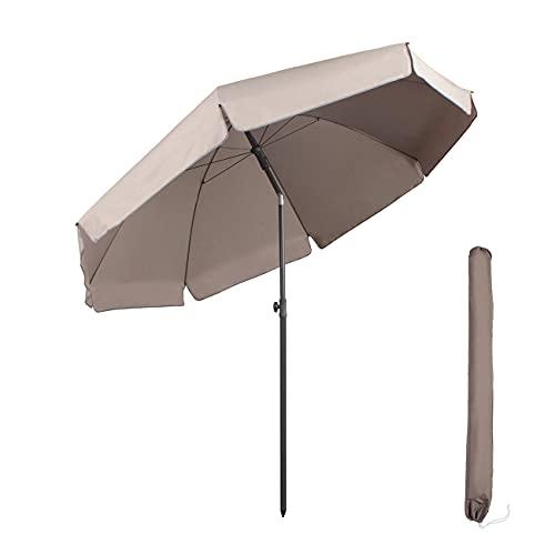 Sekey parasol 240 cm marktscherm tuinscherm terrasparasol taupe rond zonnescherm UV25+