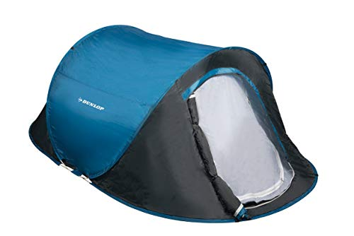 Dunlop Pop-up tent, koepeltent camping outdoor tent, blauw/grijs - 1-2 personen