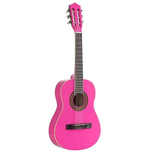 Voggenreiter kindergitaar 1/2 kinderen akoestische gitaar speelgoed instrument (18 frets, open mechanica met acrylknoppen, authentiek geluid, linde/populier), roze
