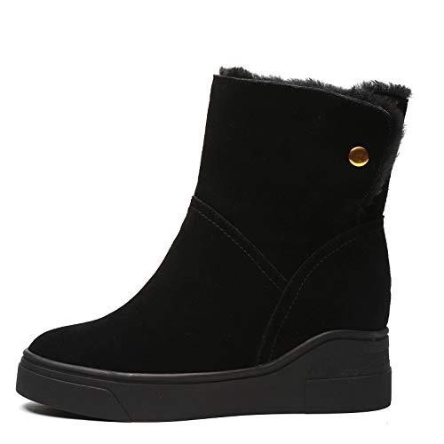 Enkellaarsjes, Women's Cotton Laarzen Nubuck Leer En Fluweel Warm Short Boots Geschikt Voor Vrouwen in De Winter,Black,37