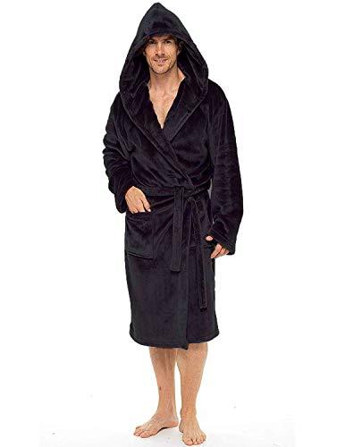 Heren ochtendjas super zacht heren fleece jas met capuchon jassen badjas warm en gezellig, Zwart, L/XL