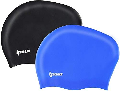 Ipow 2 stuks hoogwaardige siliconen badmutsen badmuts badmuts voor lang haar gezond en warm zwemcap (zwart + blauw)