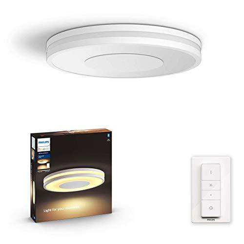 Philips Hue Being plafondlamp - Duurzame LED Verlichting - Warm tot Koelwit Licht - Incl. dimmer switch - Dimbaar - Verbind met Bluetooth of Hue Bridge - Werkt met Alexa en Google Home - Wit - Rond