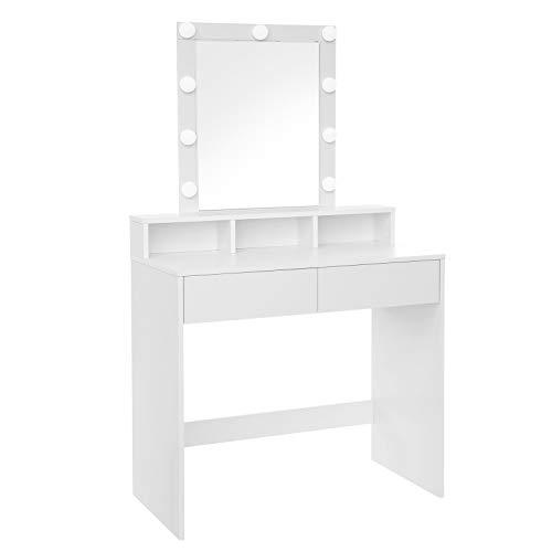 VASAGLE Kaptafel, kaptafel met spiegel en gloeilampen, cosmetische tafel met 2 lades en 3 open vakken, kaptafel, voor make-up, modern, wit RDT114W01