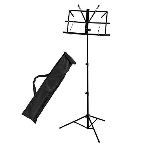 CASCHA muziekstandaard van metaal met draagtas, muziekhouder, opvouwbaar, in hoogte verstelbaar, zwart 1 x muziekstandaard.
