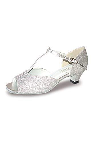Aduo zilver lage hak balzaal schoenen