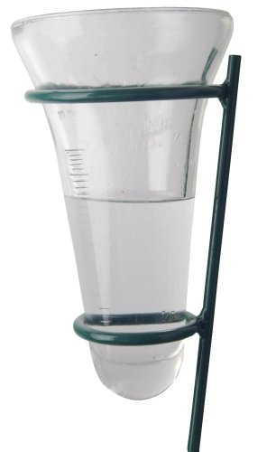 Esschert Design Regenmeter, neerslagindicator met glazen inzetstuk op staaf, ca. 12 cm x 12 cm x 134 cm