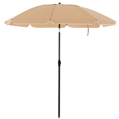 SONGMICS Strandparasol, Ø 200 cm, tuinparasol, UV-bescherming tot UPF 50+, buigbaar, bescherming tegen de zon, draagbaar, baleinen van glasvezel, taupe GPU65BRV1