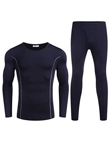 Avidlove Thermo-ondergoed heren katoen binnenfleece ski-ondergoed set ondergoed warm functioneel ondergoed thermo-onderhemd en broek winter zwart grijs S M L XL XXL