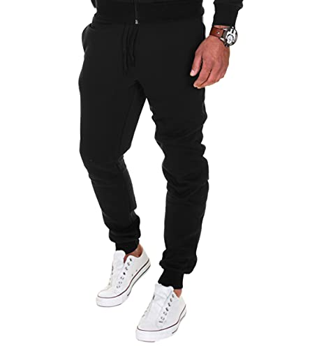 MERISH Joggingbroek heren jogger katoen jongens slim fit 211, zwart, L