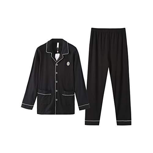 CPPI-1 Herenpyjama met lange mouwen en manchetten, tweedelige pyjama van katoen.