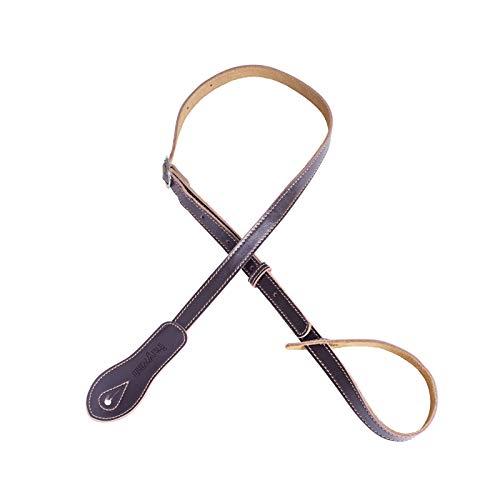 Rayzm Gitaarriem met 5,5 cm brede vervanging schoudervulling & suède onderlaag, hoogwaardige lederen riem voor akoestische, elektrische, basgitaar, instelbare lengte (bruin)