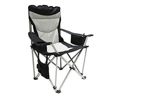 Homecall - Opvouwbare maanstoel met koelvak, vak voor tijdschriften - (zwart/crèmewit)
