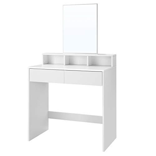 VASAGLE Kaptafel met rechthoekige spiegel en 2 lades, cosmetische tafel met 3 open vakken, kaptafel, voor make-up, modern, wit RDT113W01