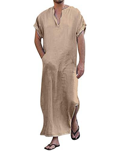 COOFANDY Herennachthemd pyjama korte mouwen roben heren katoen linnen robes V-hals nachtkleding met zakken herenhemd slaapshirt