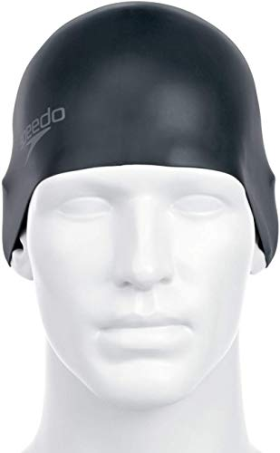 Speedo Unisex badmuts Plain Moulded Silicone, zwart, één maat, 8-709849097