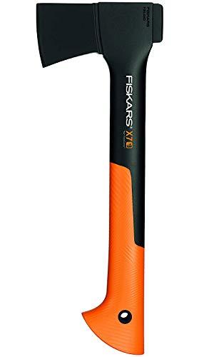 Fiskars Bijl, hatchet, incl. mesbeschermer voor veilig transport, lengte: 35,5 cm, antikleeflaag, hoogwaardig staal/glasvezelversterkte kunststof, zwart/oranje, X7-XS, 1015618