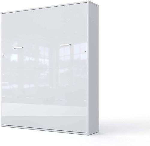 INVENTO Opklapbed op gasliften | Bedkast | Murphy bed | Vouwbed 200x160, geschikt voor woonkamer, slaapkamer, logeerkamer, kantoor en kinderkamer (Verticaal 200x140, Wit/Hoogglans Wit)