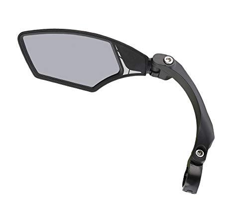 MIRAGE E-bike en fiets achteruitkijkspiegel met licht getint glas, verstelbare spiegel met klem, draaibaar, lichtdonker, zwart, S