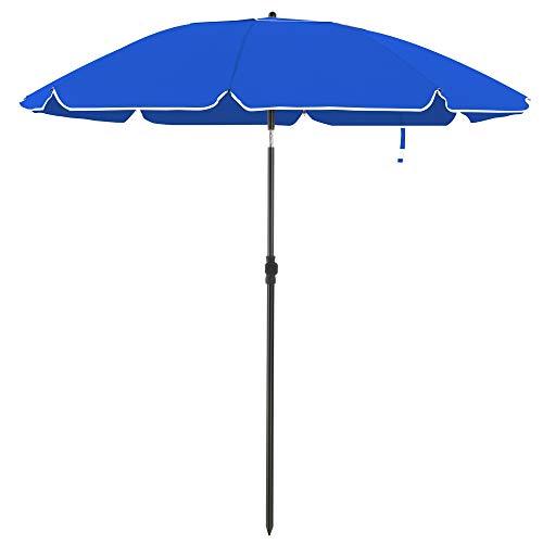 SONGMICS parasol voor het strand, Ø 200 cm, tuinparasol, UV-bescherming tot UPF 50+, opvouwbaar, zonwering, draagbaar, glasvezel parasolribben, blauw GPU65BUV1
