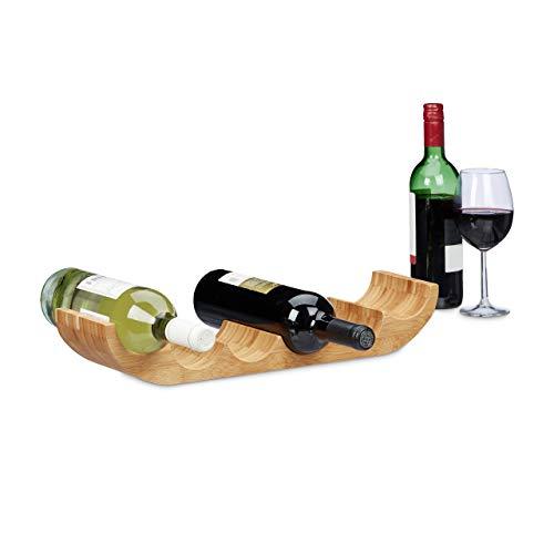 Relaxdays 10020244 wijnrek voor 6 flessen, hout, bruin, 11,5 x 47,5 x 8 cm