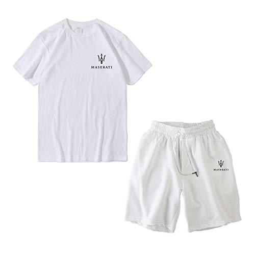 Woakzhe Heren joggingpak T-shirt sets, Mas.e-r.ati bedrukt trainingspak, sportkleding mannen, klassieke Tee broek (White, S)