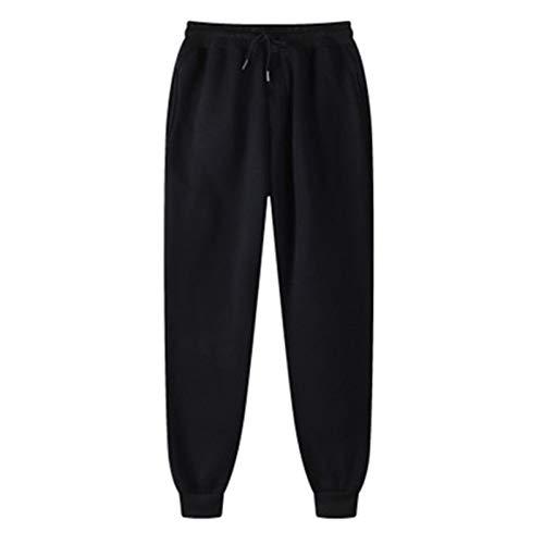 Dames sportbroek zakken hoge taille sport gym sport jogger broek lounge broek (Color : Black, Size : L)