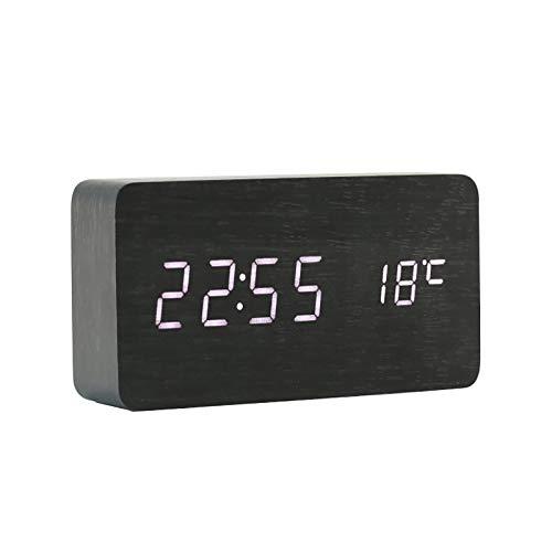 ThreeH Desk Houten Wekker Digitaal Instelbare Helderheid 3 Set Alarm Spraakbesturing Grote Weergavetijd Temperatuur, Datum USB-voeding Voor Thuis Kinderen Slaapkamer Kantoor AC11 Black_White