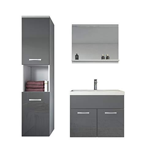 Badkamermeubelset Montreal 60 cm wastafel wit met hoogglans grijs - spiegel meubel badkamermeubel badkamerkast