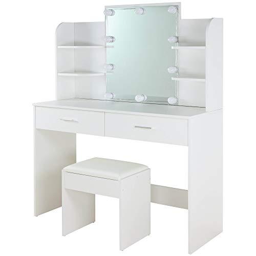 Albatros make-uptafel ELLA, wit met kruk, ledverlichting en spiegel, 2 schuifladen en vakken, kaptafel toilettafel