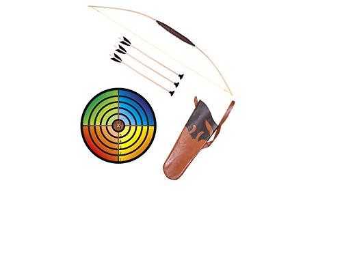 Holzspielerei Kinderboog 80 cm + doelschijf bont + koker + 3 pijlen zuignap 40 cm in set (80 cm)